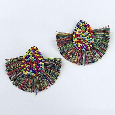 Teardrop Shape Earrings (Multi Color Beads Teardrop Half Moon Shape Threads Tassel Wide Post Earrings )