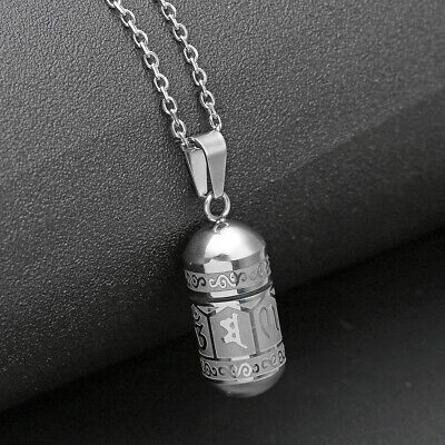 Stainless Buddha Words Bullet Pendant Necklace Cremation Memorial Urn Ash Sliver Silver Buddha Pendant Necklace