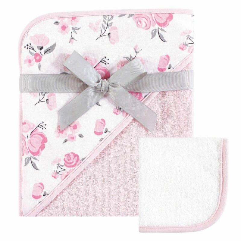 Hudson Baby Girl Print Woven Hooded Towel and Washcloth, Pink Floral