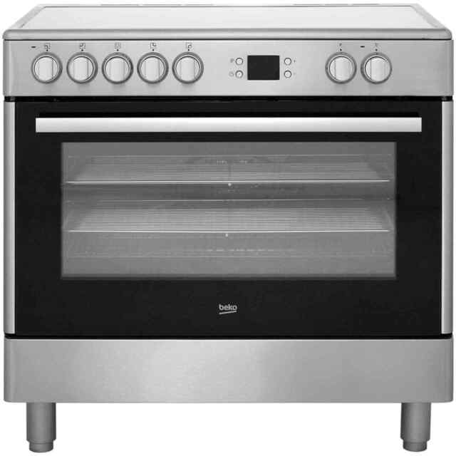 Beko bhsc90x 90 cm electric range cooker large oven 5 stainless beko bhsc90x 90cm 5 burners electric range cooker stainless steel new from ao publicscrutiny Images