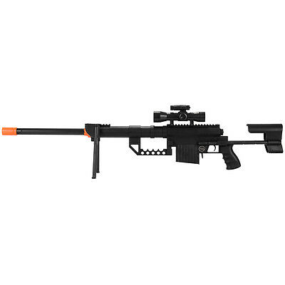 350 FPS SPRING AIRSOFT SNIPER RIFLE GUN w/ 6mm BB BBs Laser Scope Sight Bipod