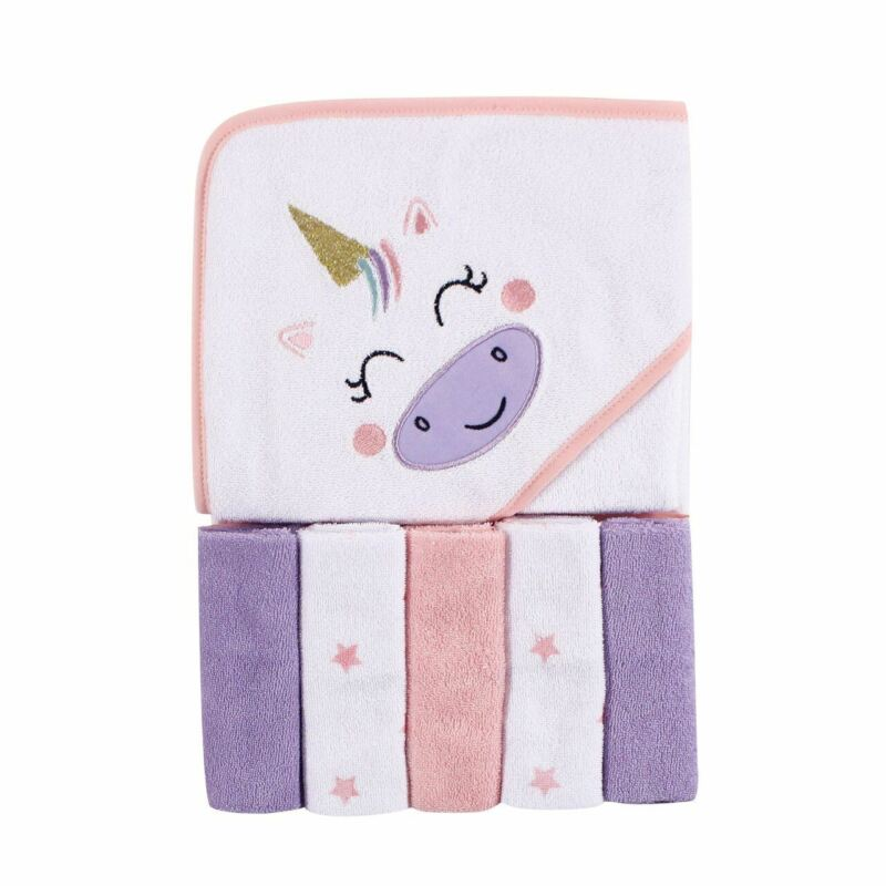 Luvable Friends Hooded Towel and 5 Washcloths, Unicorn, One Size
