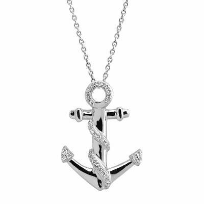 Sterling Silver Diamond Anchor Pendant Necklace (1/10 cttw, I-J Color, I2-I3