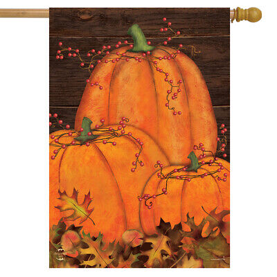 "Rustic Pumpkin Patch Fall House Flag Autumn Primitive 28"" x 40"" Briarwood Lane"