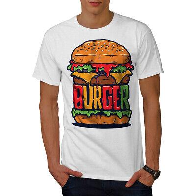 Wellcoda Cheese Burger Mens T-shirt, Food Art Graphic Design Printed Tee ()