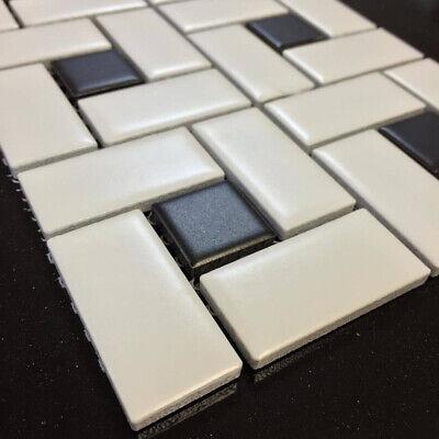 Soho White Matte with Black Dot Pinwheel Porcelain Mosaic, Floor And Wall Tile 3