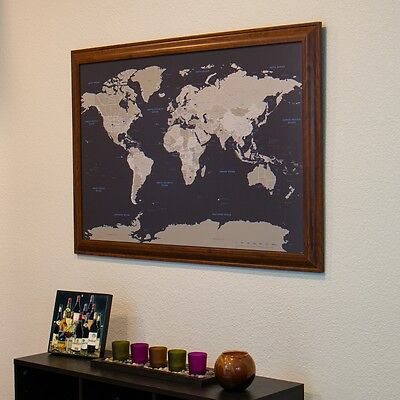 Earth Tone World - Travel Map with pins - Great Gift - Show Your Travels (World Maps With Pins)