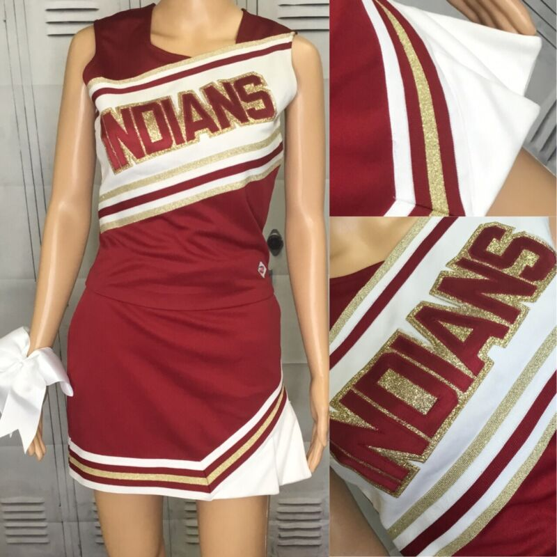 "Real Cheerleading Uniform Indians  Adult L Top 36""skirt 30"""