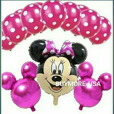 Giant Minnie Mouse Disney Happy Birthday Party Balloons Party Foil pink bowtie