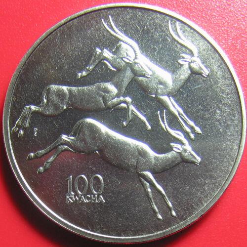 1998 ZAMBIA 100 KWACHA ANTELOPE AFRICAN WILDLIFE RARE! CU-NI 38.6mm (no silver)