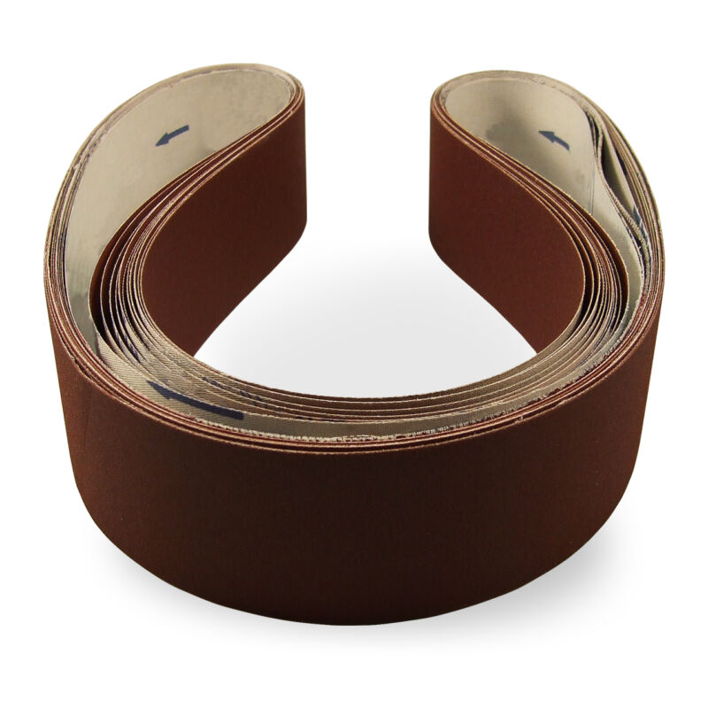 2 X 48 Inch 60 Grit Flexible Aluminum Oxide Multipurpose Sanding Belts, 6 Pack