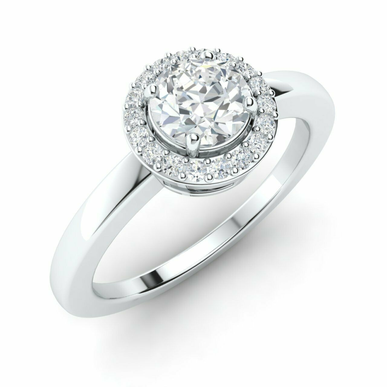 GIA Certified 0.54 Ct Real I/SI2 Diamond Engagement Ring in 14k White Gold Size7