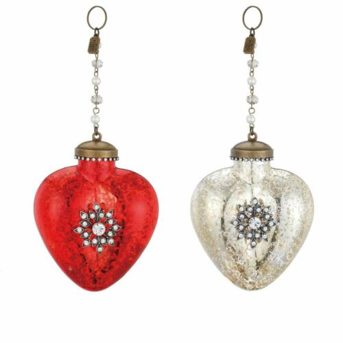 Heart with Sparkling Gems Red and White Glass Ornaments Set of 2 Valentine
