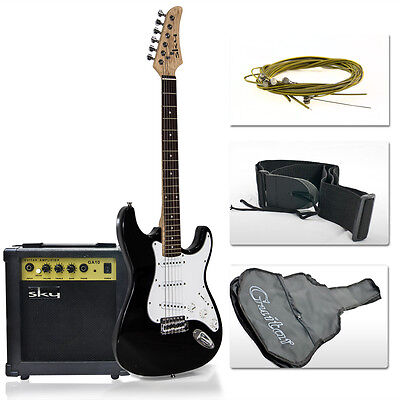 Electric Guitar With 10 Watt Amp + Gig Bag Case + Guitar Strap New Black on Rummage