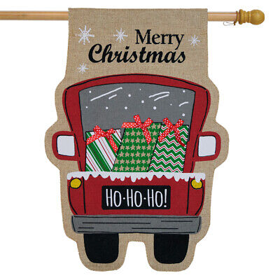 Christmas Delivery Burlap House Flag Pickup Truck Presents 2