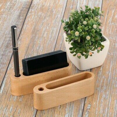 1x Light Color Desktop Business Card Holder Display Stand Hand Made Wooden Desk