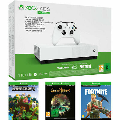Xbox One S 1TB with Fortnite, Sea Of Thieves, Minecraft (Digital Downloads) & 1