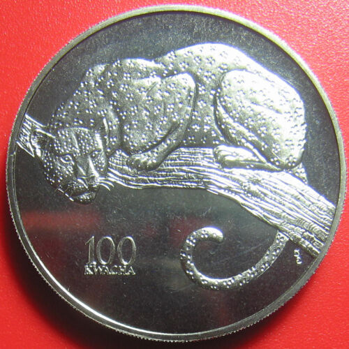 1998 ZAMBIA 100 KWACHA LEOPARD CAT AFRICAN WILDLIFE RARE! CU-NI COIN (no silver)
