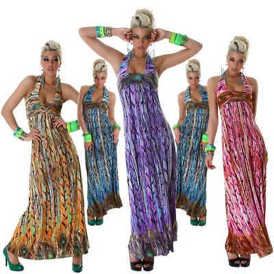 Neckholder-Maxikleid lang bunt Einheits-Größe 34 36 38 trendy Tanz Party Kleid Neckholder-maxi-kleid