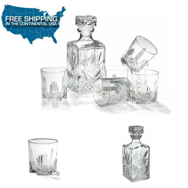 whiskey gift set decanter bottle liquor vintage style 7 glasses rocks italy wine - Whiskey Glass Set