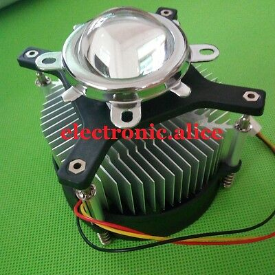 50w 100w High Power Led Heatsink Dc 12v 1.2a Led Cooling Fan 44mm Lens Kit