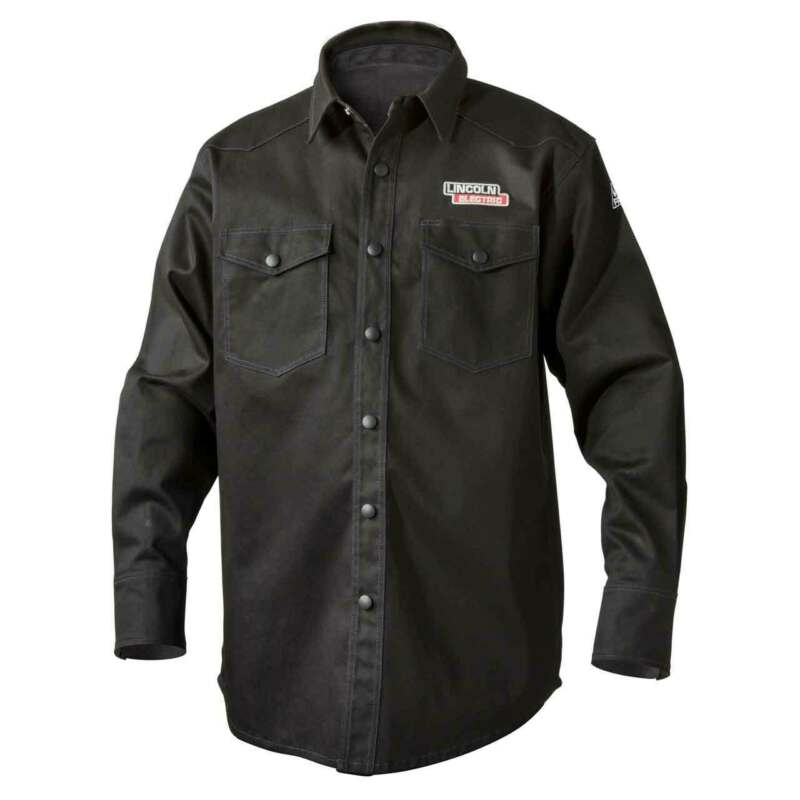 Lincoln Electric K3113 9 oz. FR Black Welding Shirt Large