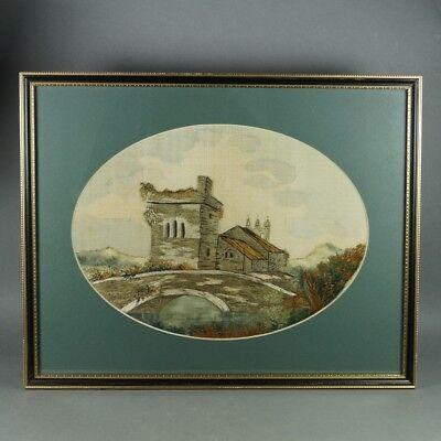 19th Century English Regency Silkwork Embroidery Church Ruins Rural Landscape