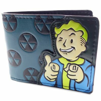 Blue Fallout Vault Boy Leather Bi-fold Wallet Leather Purse Best Gift for