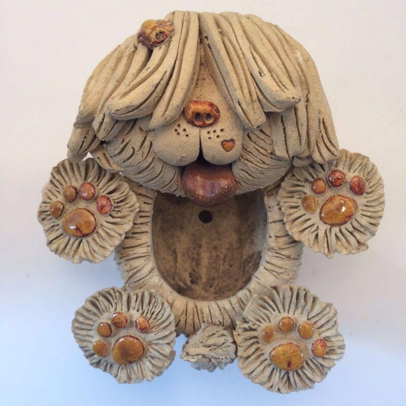 Sheep Dog Figurine / Planter -  Signed Pence
