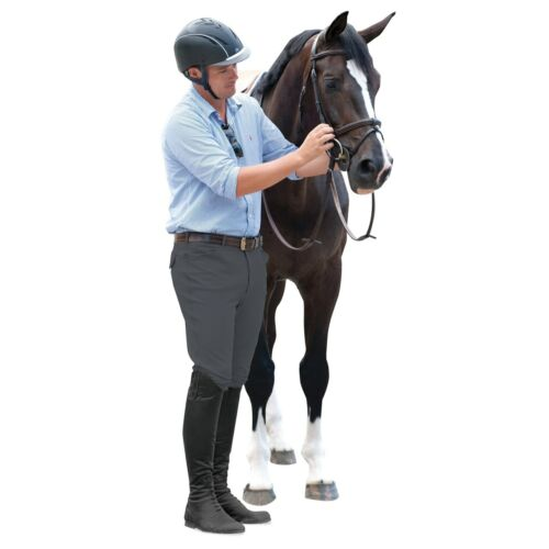 Ovation Mens EuroWeave Front Zip 4-Pocket Knee Patch Breeches - Charcoal