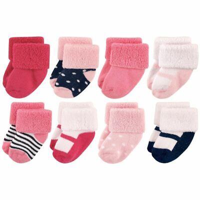 Luvable Friends Girl Socks, 8-Pack, Navy Mary Jane