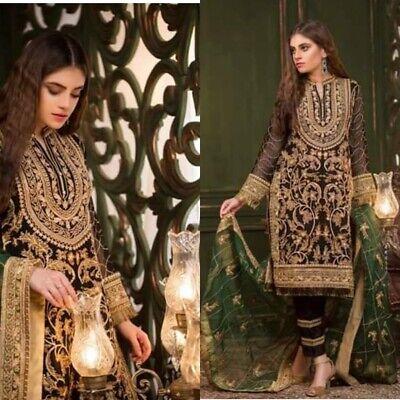 Salwar Kameez Black And Green Pakistani Shalwar Suits Unstitched (Chiffon Salwar Suit)
