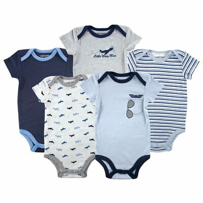 Luvable Friends Boy Bodysuits, 5-Pack, Airplane