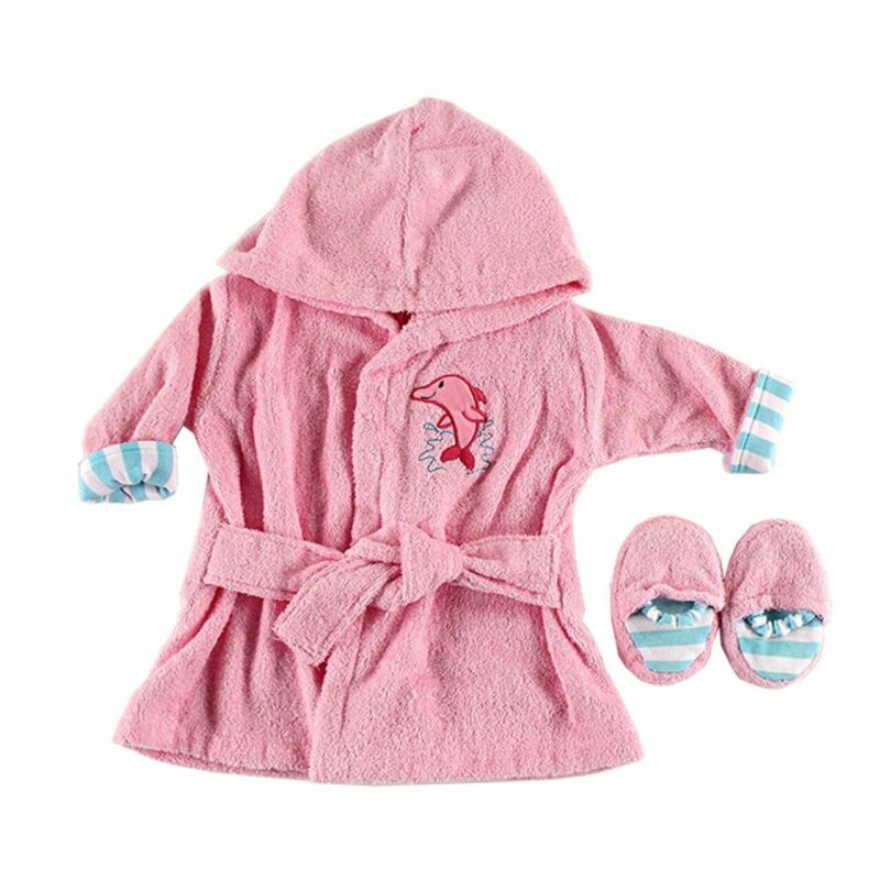 Luvable Friends Girl Bath Robe with Slippers, Pink Dolphin