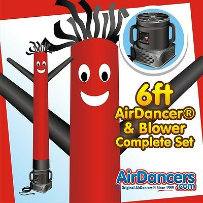 Red And Black Air Dancers Inflatable Tube Man 14 Hp Sky Dancer Blower 6ft