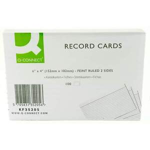 Pack-100-Record-Revision-Flash-Cards-6-x-4-Ruled-White-Cards-KF35205