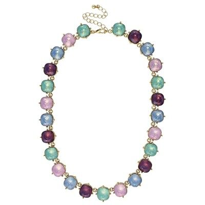 NEW Purple, Mint Green, Pink and Pastel Blue Opalescent Resin Statement Necklace](Purple And Mint Green)
