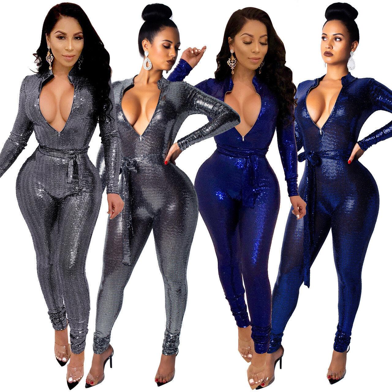 71ec73357a1 Details about 2019New Women Long Sleeve Solid Sequins Zipper Bodycon Club  Party Belt Jumpsuit