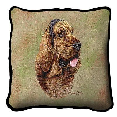 Bloodhound Dog Portrait Art Tapestry Pillow 3311-P Made in USA ()