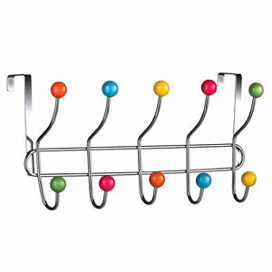 10 HOOK MULTI COLOUR OVER THE DOOR CLOTHES COAT HANGER RACK CHROME HANGERS