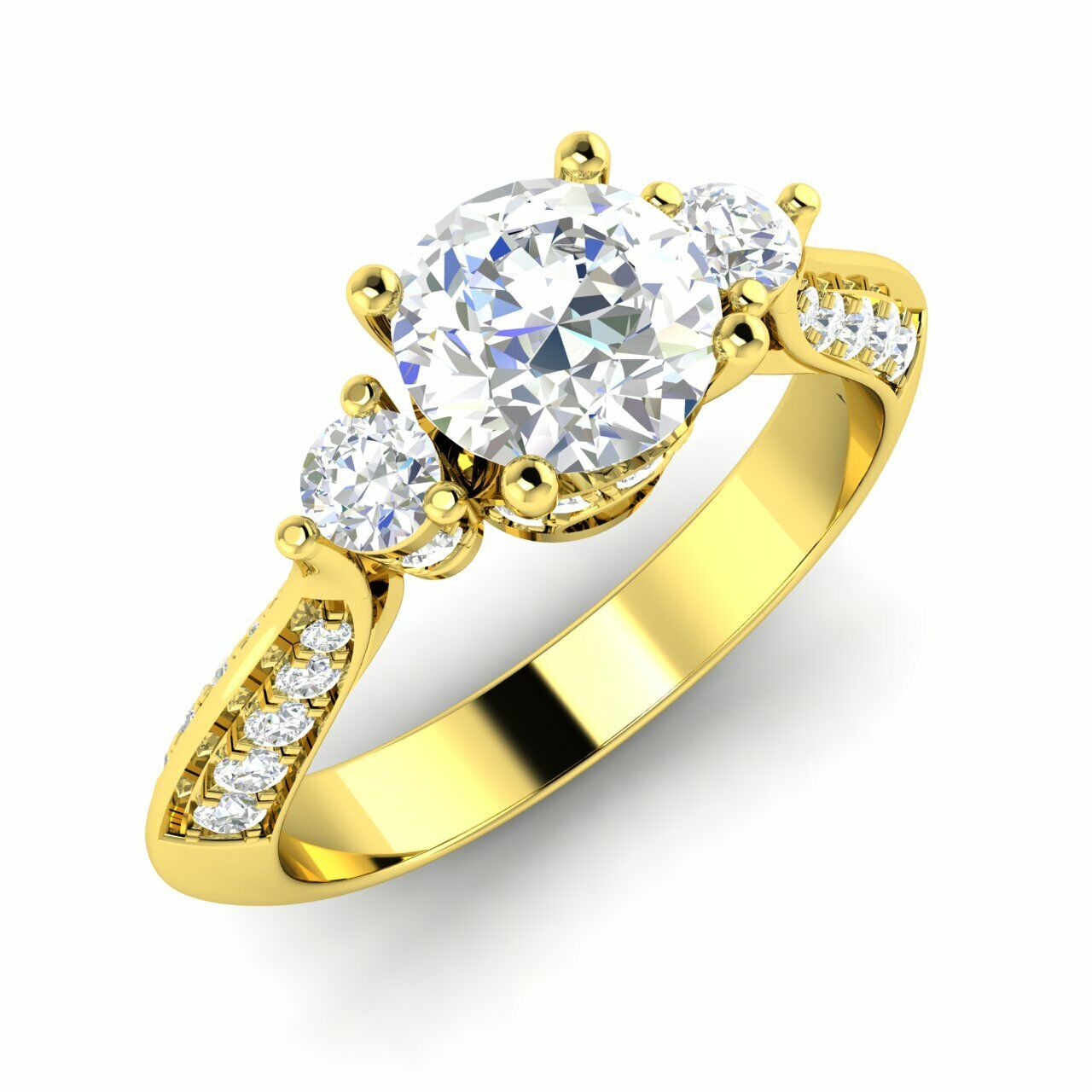 Certified 1.11 Ctw Natural Diamond Three Stone Engagement Ring 14k Yellow Gold