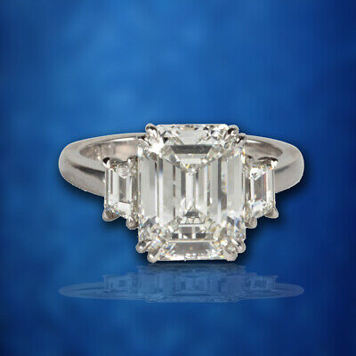GIA Certified Emerald Cut F VS1 Diamond Platinum Ring Engagement Ring