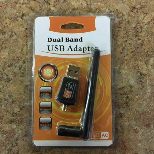 600Mbps USB WiFi Adapter Dual Band Wireless Network Laptop Desktop PC Antenna