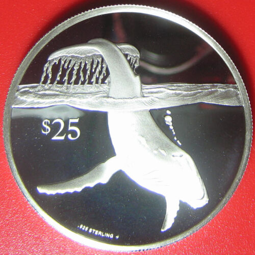 1993 BRITISH VIRGIN ISLANDS $25 SILVER PROOF DIVING HUMPBACK WHALE RARE BVI COIN