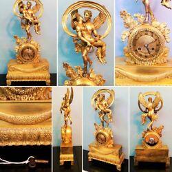 NICE ANTIQUE 1850 FRENCH PARIS BRONZE GILDED  SCULPTURE EMPIRE MANTEL CLOCK
