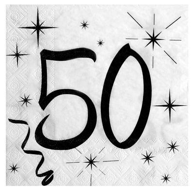 50. Geburtstag Servietten schwarz / weiß Tisch Deko Dekoration Motivservietten