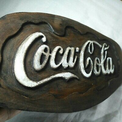 Vintage Wooden Panel Plate Wall Hang Sign Cola Coke Shop Home Decor Collectible