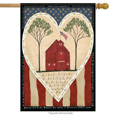 Little Red Schoolhouse Patriotic House Flag Stars & Stripes Primitive 28
