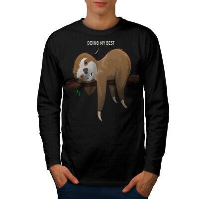 Wellcoda Sloth Lazy Mens Long Sleeve T-shirt, Doing My Best Graphic