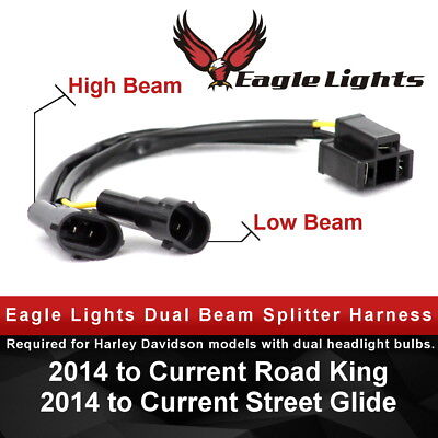 Used, Eagle Lights Splitter Harness for Harley Dual Bulb Headlights H4 to H9 / H11 for sale  Norwalk